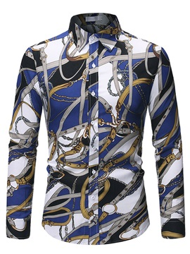 Lapel Print Color Block Slim Men's Shirt