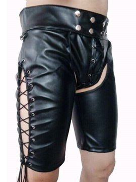Men's Rivet Patent Leather Plain Sexy Shorts