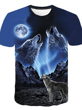 Round Neck Color Block Animal Print Loose Men's T-Shirt