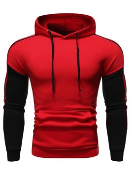 Hooded Color Block Patchwork Men's Pullover Hoodie