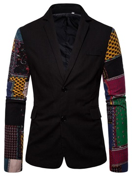 Color Block Patchwork Slim Notched Lapel Men's Blazer