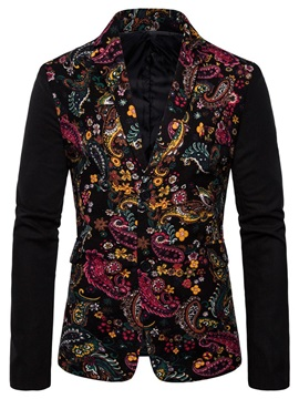 Notched Lapel Floral Print Patchwork Men's Blazer