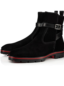 Suede Hasp Color Block Round Toe Men's Ankle Boots