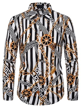Color Block Lapel Unique Print Button Men's Shirt
