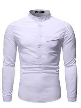 Plain Stand Collar Button Men's Casual Shirt