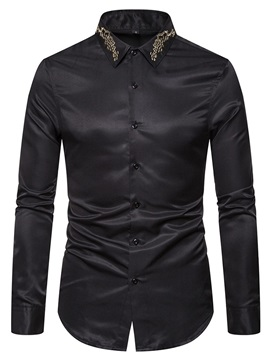 Lapel Plain Long Sleeve Single-Breasted Men's Shirt