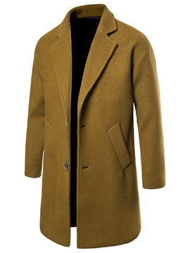 Pocket Plain Long Notched Lapel Single-Breasted Men's Coat