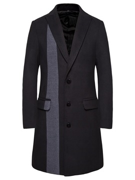 Long Button Color Block Patchwork Men's Coat