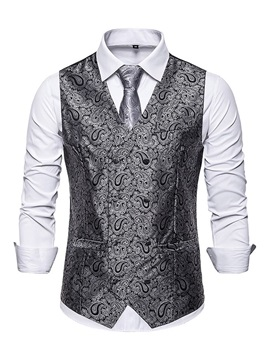 Color Block V-Neck Print Fashion Men's Waistcoat