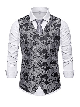 Color Block V-Neck Button Fashion Men's Waistcoat