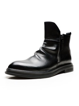 Pointed Toe Plain Side Zipper PU Vintage Men's Boots