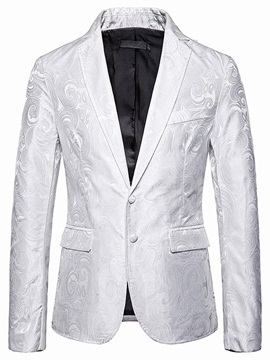 Casual Color Block Single-Breasted Notched Lapel Men's Leisure Blazers