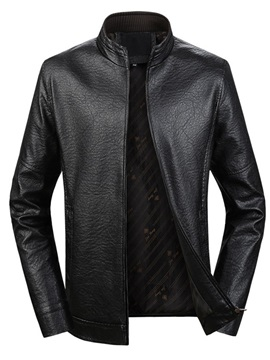 Plain Stand Collar Zipper European Men's Jacket