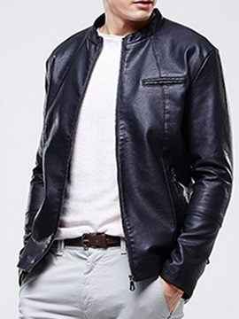Stand Collar Pocket Plain Slim Men's Jacket