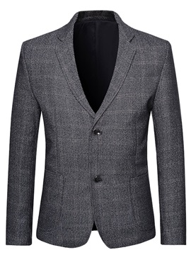 Plaid Button Single-Breasted Notched Lapel Men's Blazer