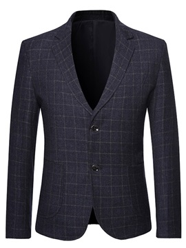 Button Notched Lapel Fashion Plaid Men's Blazer