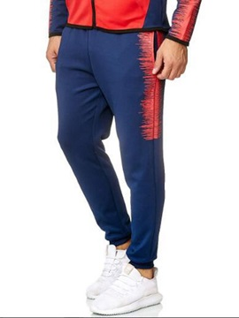 Color Block Lace-Up Mid Waist Casual Men's Pants