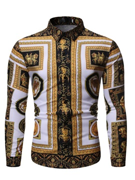 Color Block Ethnic Print Men's Shirt