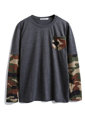Print Round Neck Camouflage Casual Men's Slim Shirt
