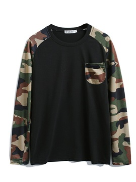 Round Neck Casual Patchwork Camouflage Men's Shirt