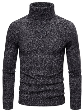 Plain Standard Turtleneck Casual Men's Sweater