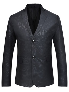 Button Casual Notched Lapel Single-Breasted Men's Blazer