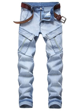 Color Block Patchwork Straight European Men's Jeans