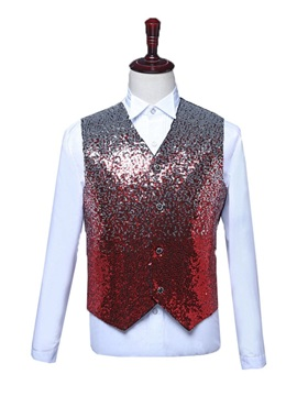 Color Block V-Neck Button Single-Breasted Fashion Men's Waistcoat