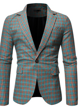 Slim Plaid Button Notched Lapel Men's Leisure Blazers