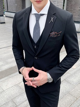 One Button Zipper Vest Plain Men's Dress Suit