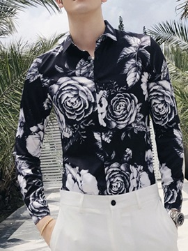 Lapel Korean Print Color Block Single-Breasted Men's Shirt