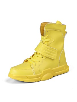 Lace-Up Color Block High Top Round Toe Men's Skate Shoes
