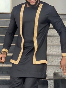 African Fashion Dashiki Casual Round Neck Patchwork Color Block Men's Shirt