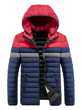 Color Block Hooded Standard Pocket European Men's Down Jacket