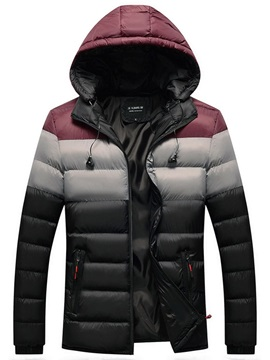 Standard Color Block Zipper Hooded European Men's Down Jacket