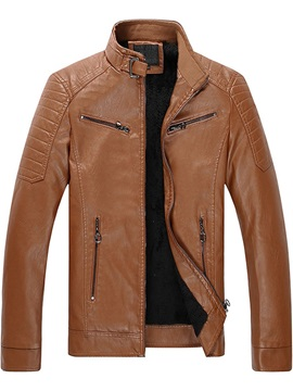 Zipper Stand Collar Men's Jacket