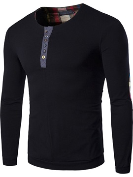Round Neck Button Casual Color Block Long Sleeve Men's Shirt