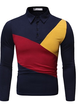 Casual Button Polo Neck Color Block Men's Polo Shirt