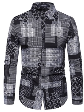 Print Plaid Casual Lapel Slim Men's Shirt