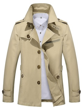 Plain Lapel Button Single-Breasted Men's Jacket