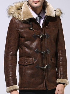 Hooded Color Block Mid-Length Fashion Men's Leather Jacket