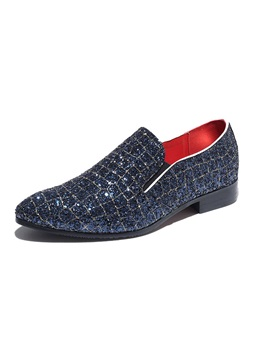 Low-Cut Upper Slip-On Pointed Toe Glitter Men's Prom Shoes