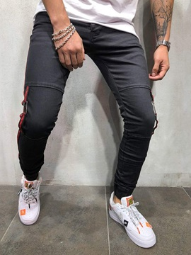 Pencil Pants Patchwork Color Block Mid Waist Men's Jeans