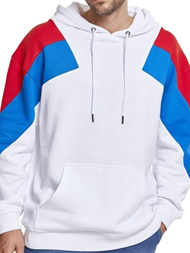 Pocket Color Block Pullover Fleece Loose Men's Hoodies