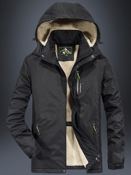 Mid-Length Hooded Casual Zipper Men's Down Jacket