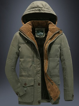 Hooded Zipper Mid-Length Casual Men's Down Jacket