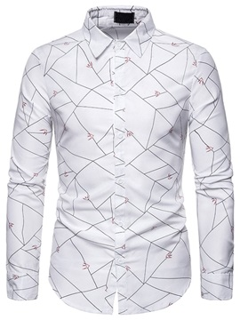 Color Block Button Lapel Casual Single-Breasted Men's Slim Shirt