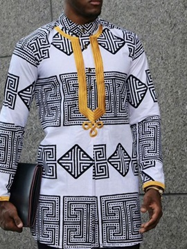 African Fashion Dashiki Color Block Stand Collar Print Loose Men's Shirt