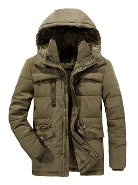 Patchwork Hooded Plain Mid-Length Men's Down Jacket
