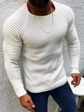 Plain Round Neck Mid-Length Casual Men's Sweater